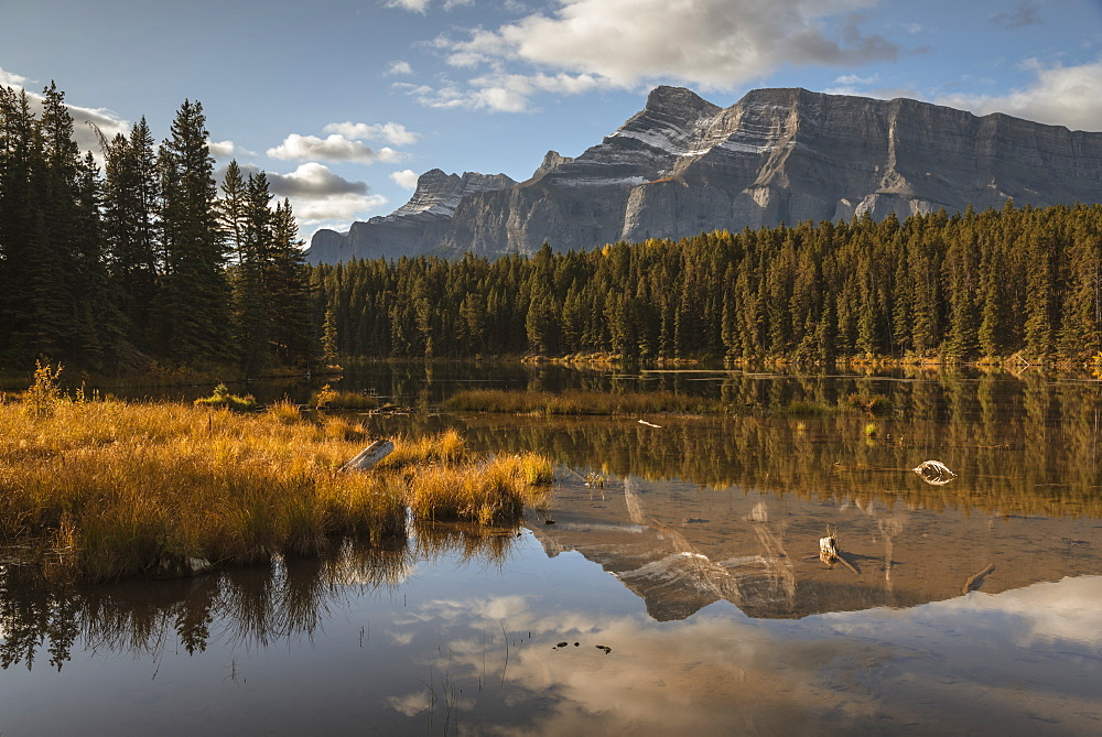 Mount Rundle reflected in Johnson Lake, Banff National Park, UNESCO World Heritage Site, Alberta, Rocky Mountains, Canada, North America - 1241-205
