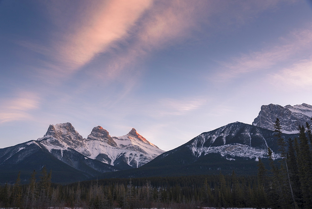 Evening light on the peaks of Three Sisters near Banff National Park, Canmore, Alberta, Canadian Rockies - 1241-207