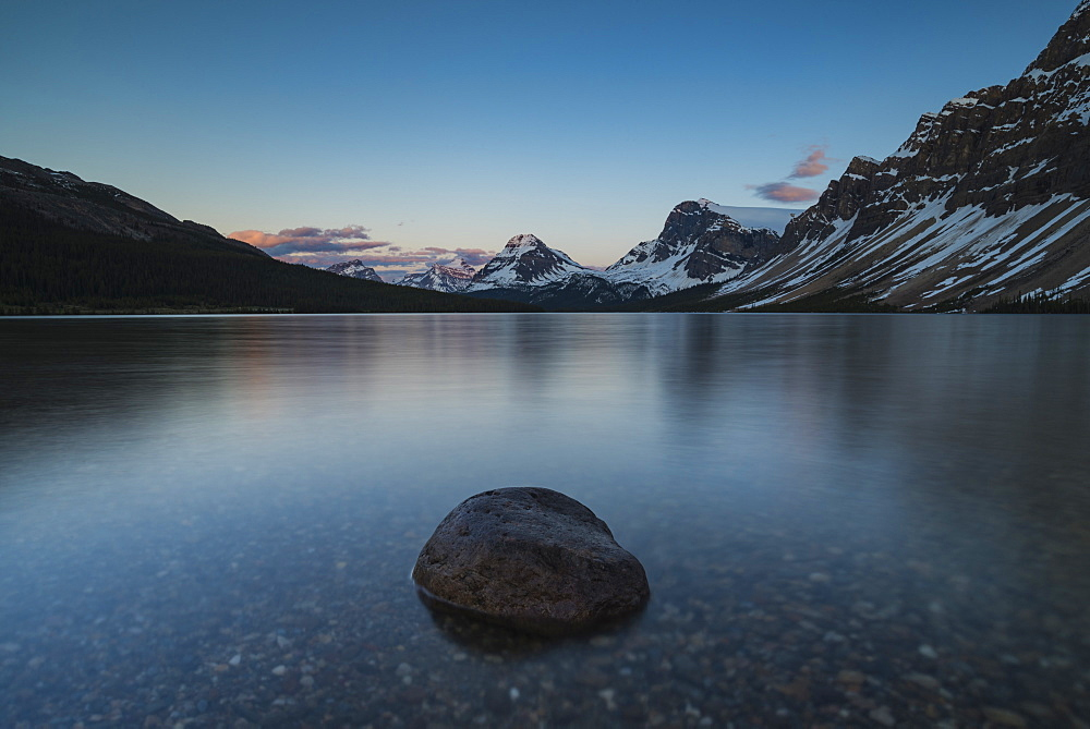 Calm sunset at Bow Lake, Banff National Park, UNESCO World Heritage Site, Alberta, Canadian Rockies, Canada, North America - 1241-216