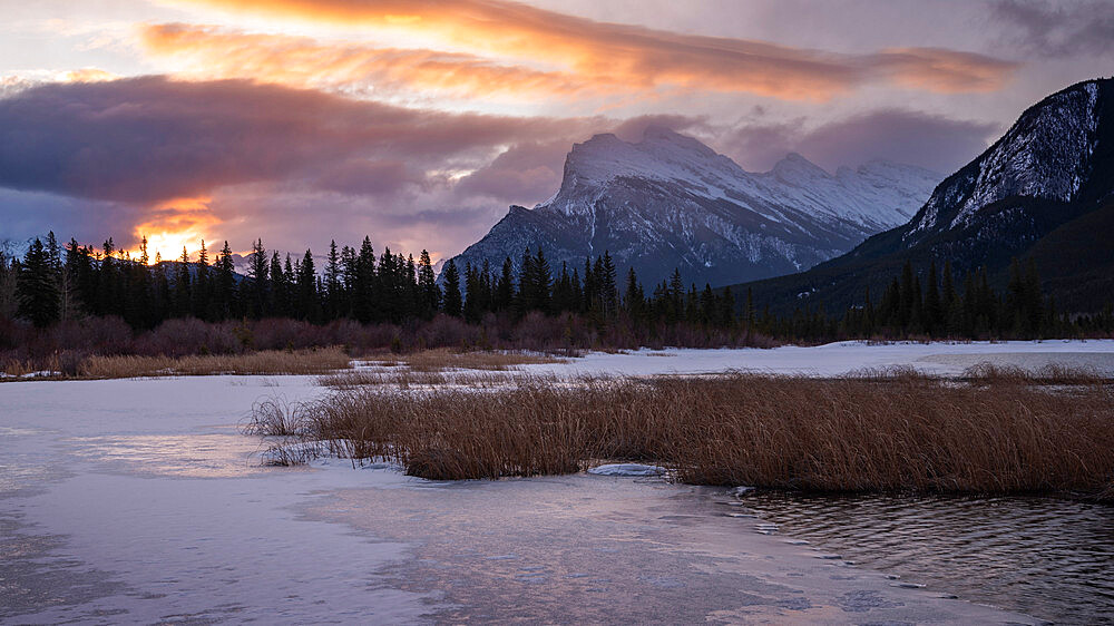 Mount Rundle sunrise with lake ice, Vermillion Lakes, Banff National Park, Alberta, Canada, Canadian Rockies - 1241-260