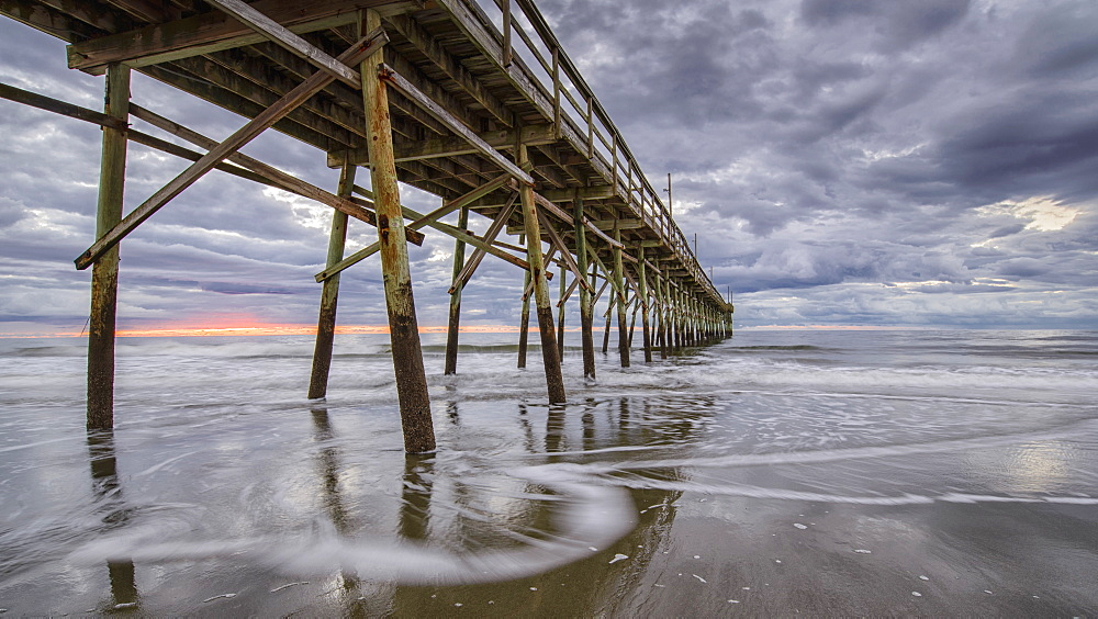 Beach, ocean, waves and pier at sunrise, Sunset Beach, North Carolina, United States of America, North America - 1241-30