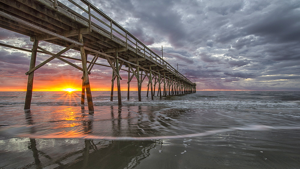 Beach, ocean, waves and pier at sunrise, Sunset Beach, North Carolina, United States of America, North America - 1241-31
