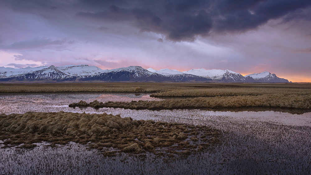 Sunrise over snow-covered mountains and lakes in east Iceland, Polar Regions - 1241-54
