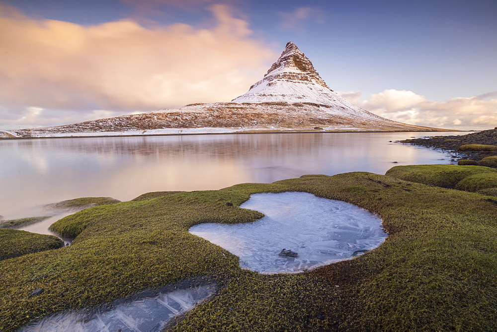 Sunrise at Kirkjufell Mountain, Snaefellsnes Peninsula, Iceland, Polar Regions