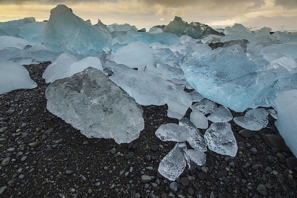 Icebergs on Jokulsarlon Black Sand Beach, Iceland, Polar Regions