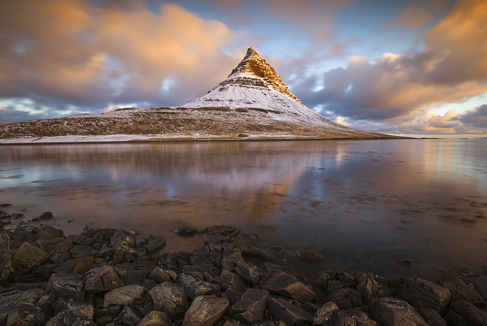 Kirkjufell Mountain at sunrise, Snaefellsness Peninsula, Iceland, Polar Regions