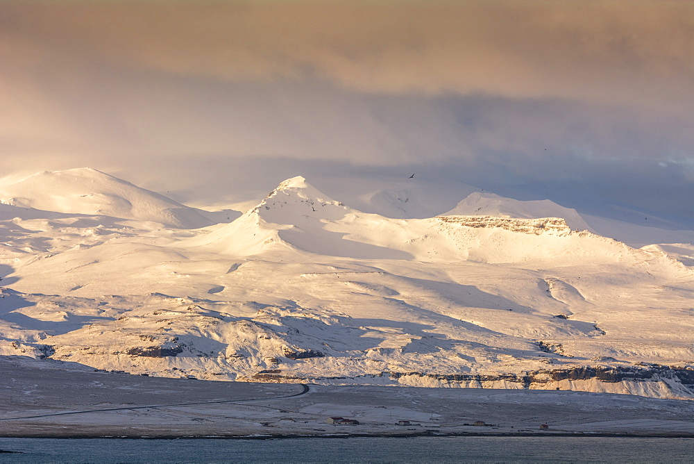 Snow covered mountain peaks on the Snaefellsness Peninsula, Iceland, Polar Regions - 1241-66