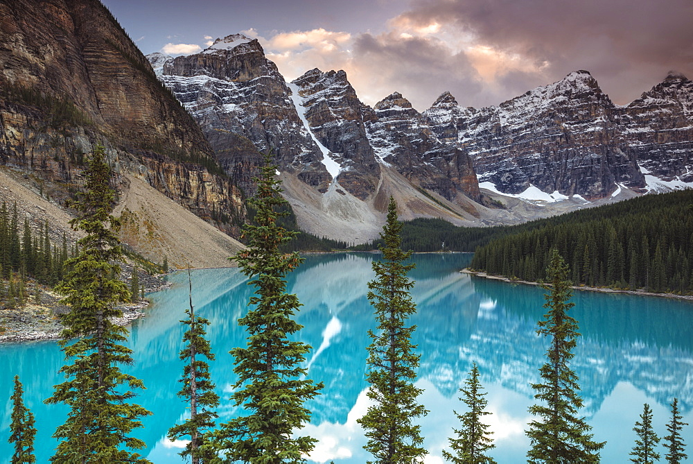 Sunset at Moraine Lake, Banff National Park, Alberta, Canada. Canadian Rockies, Mountains, Landscape, Blue Lake, Nature, Travel