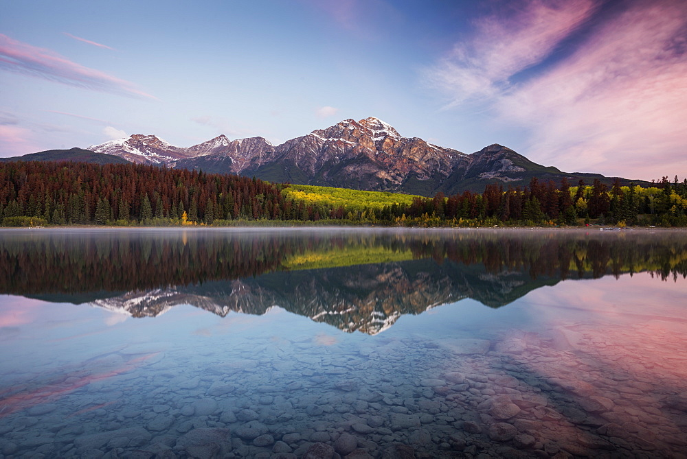 Pyramid Mountain reflected in Patricia Lake in autumn at sunrise, Jasper National Park, UNESCO World Heritage Site, Canadian Rockies, Alberta, Canada, North America - 1241-85