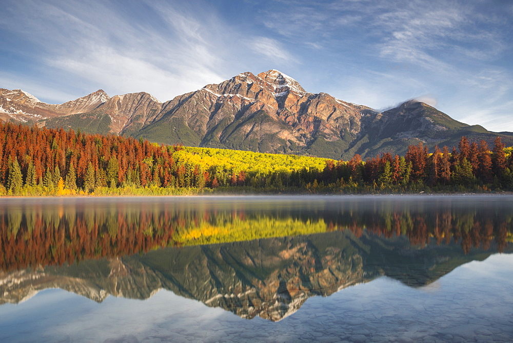 Pyramid Mountain reflected in Patricia Lake in autumn, Jasper National Park, UNESCO World Heritage Site, Canadian Rockies, Alberta, Canada, North America - 1241-87