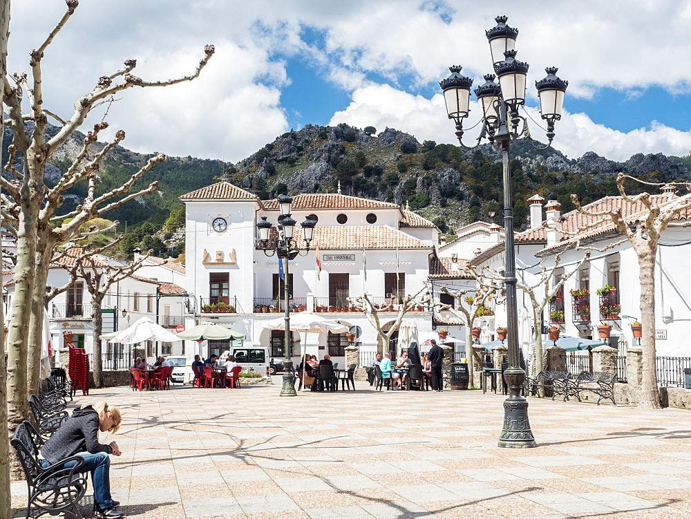Main plaza, Grazalema, Andalucia, Spain, Europe