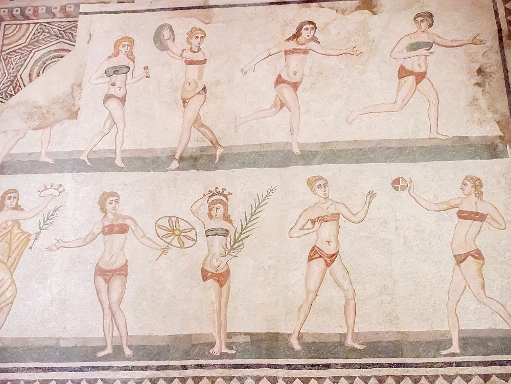 Floor mosaic of female athletes, Villa Romana del Casale, Piazza Armerina, UNESCO World Heritage Site, Sicily, Italy, Europe