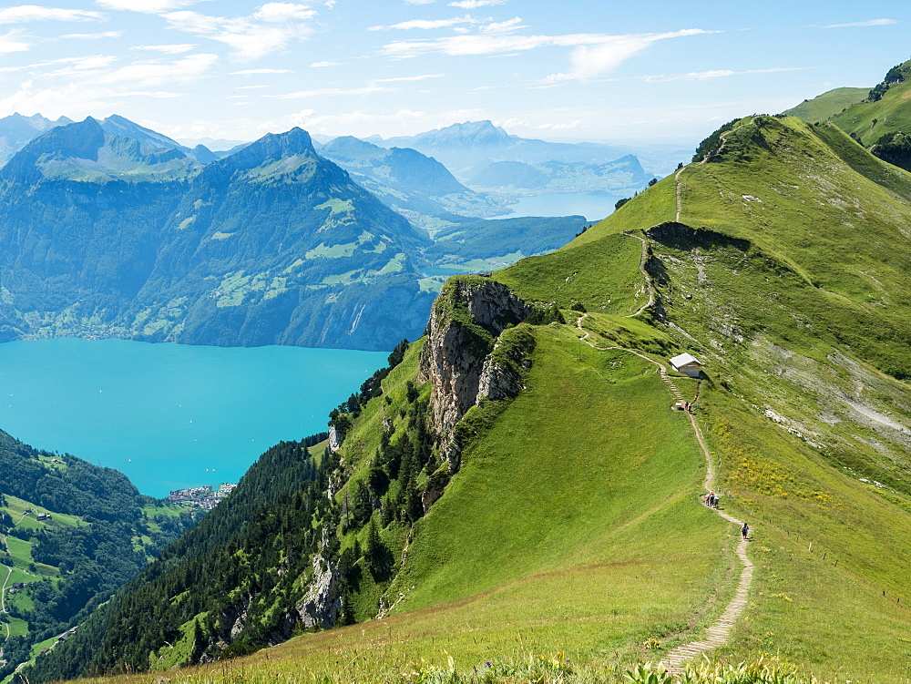 View of mountains and Lake Lucerne from Stoos Ridge Trail, Swiss Alps, Switzerland, Europe - 1242-176