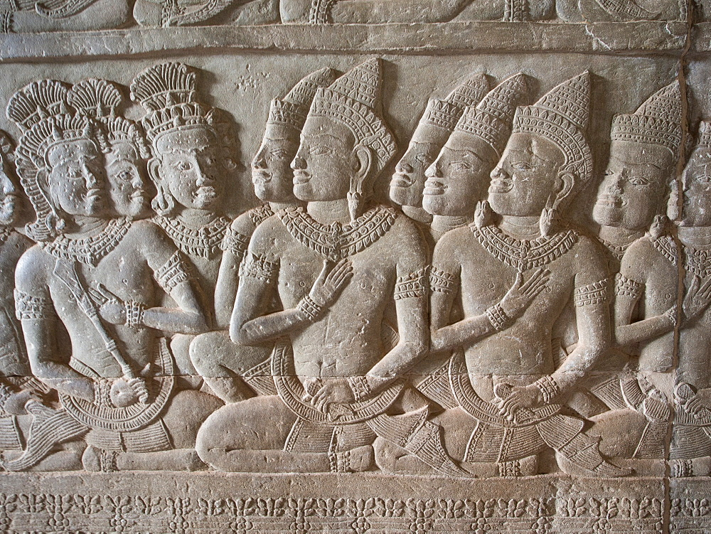 Wall carving, Angkor Wat, UNESCO World Heritage Site, near Siem Reap, Cambodia, Indochina, Southeast Asia, Asia - 1242-187