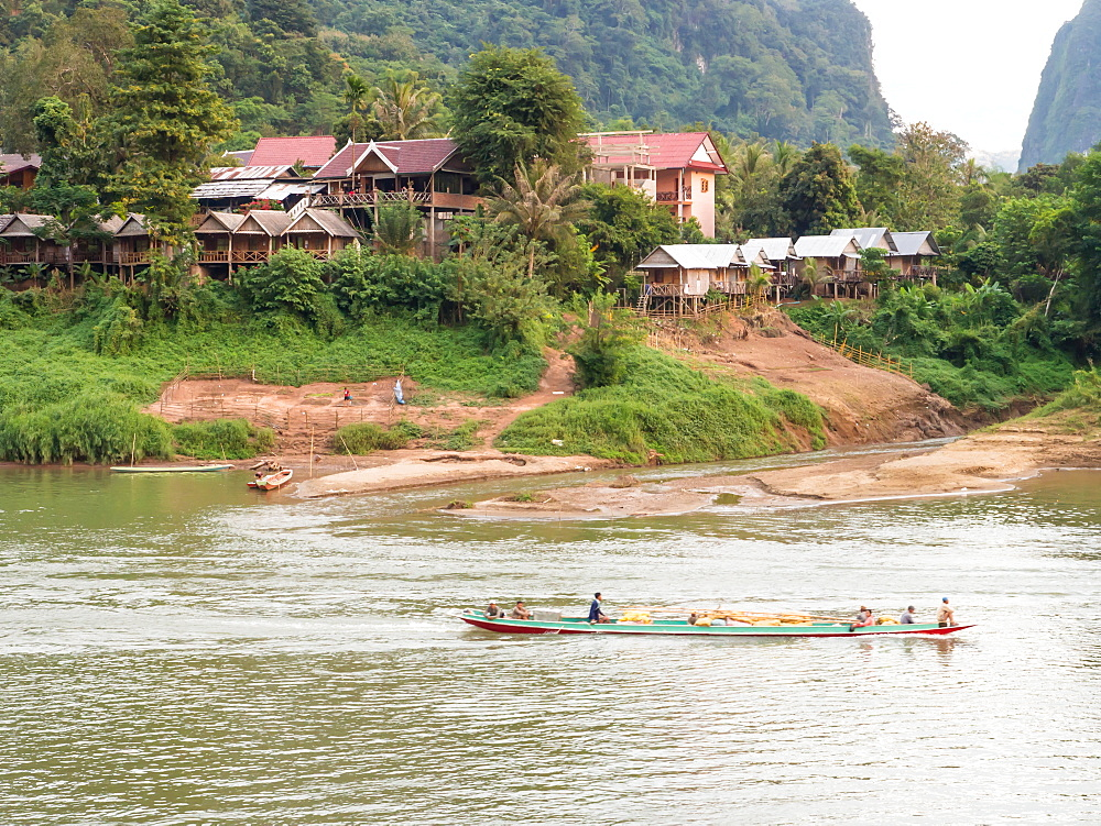 Riverboat and village, Nong Khiaw, Laos, Indochina, Southeast Asia, Asia