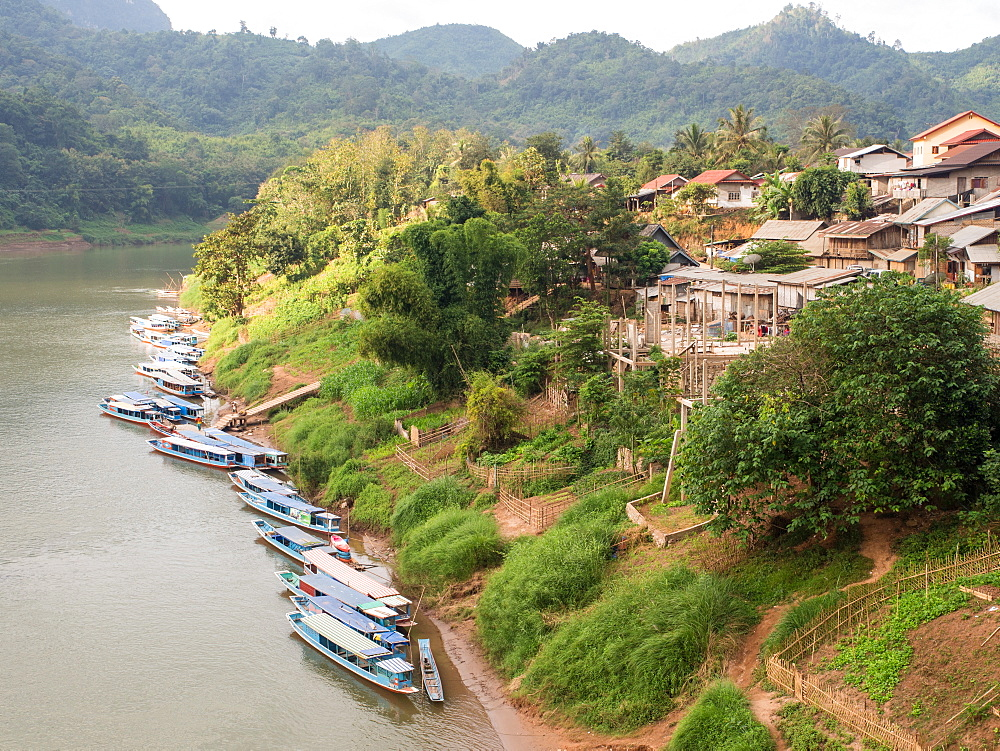 Riverboats on the Nam Ou River, Nong Khiaw, Laos, Indochina, Southeast Asia, Asia - 1242-224
