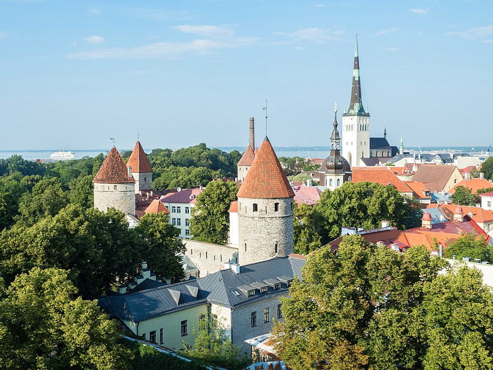 View of the the Old Town from the Toompea (upper town) wall, Tallinn, Estonia, Baltics, Europe - 1242-238