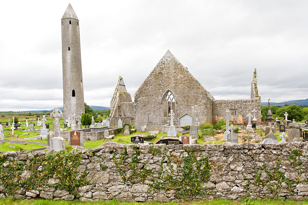 Ruins of Kilmacduagh Monastery with round tower, County Galway, Connacht, Republic of Ireland, Europe