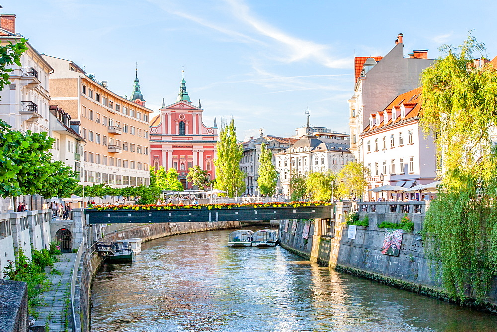 Looking down the Sava River to the pink 17th century Franciscan Church, Ljubljana, Slovenia, Europe - 1242-265