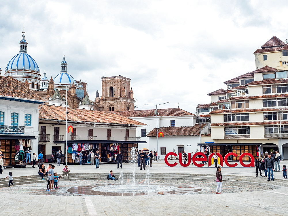 Plaza San Francisco, Cuenca, UNESCO World Heritage Site, Ecuador, South America