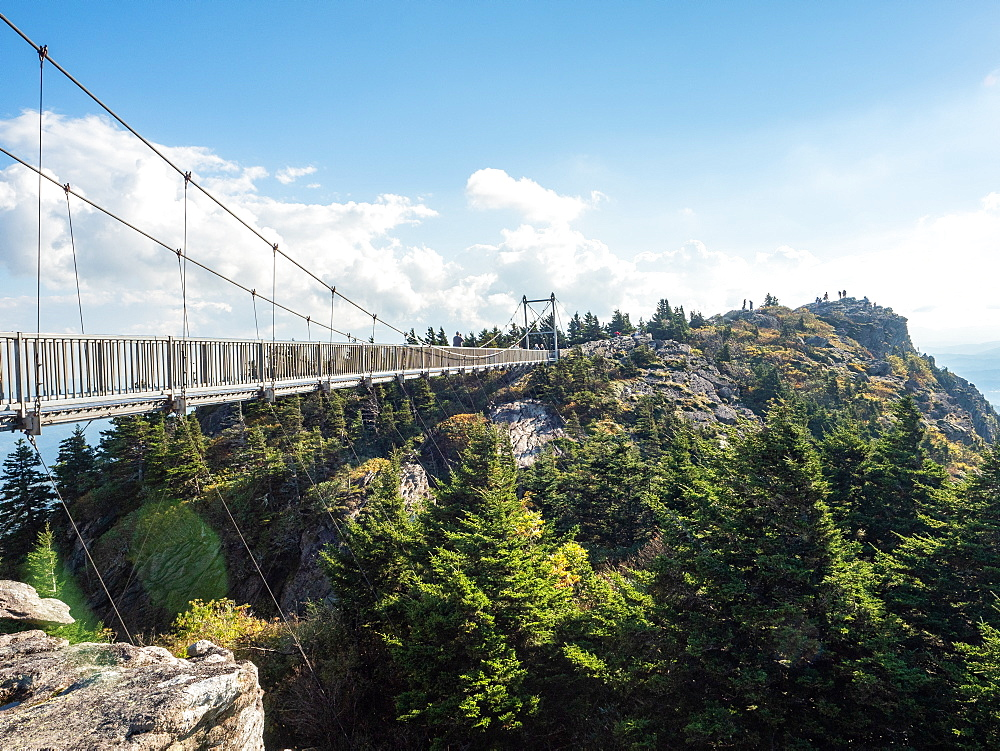 Footbridge at the peak of Grandfather Mountain, Blue Ridge Mountains, Appalachia, North Carolina, United States of America, North America