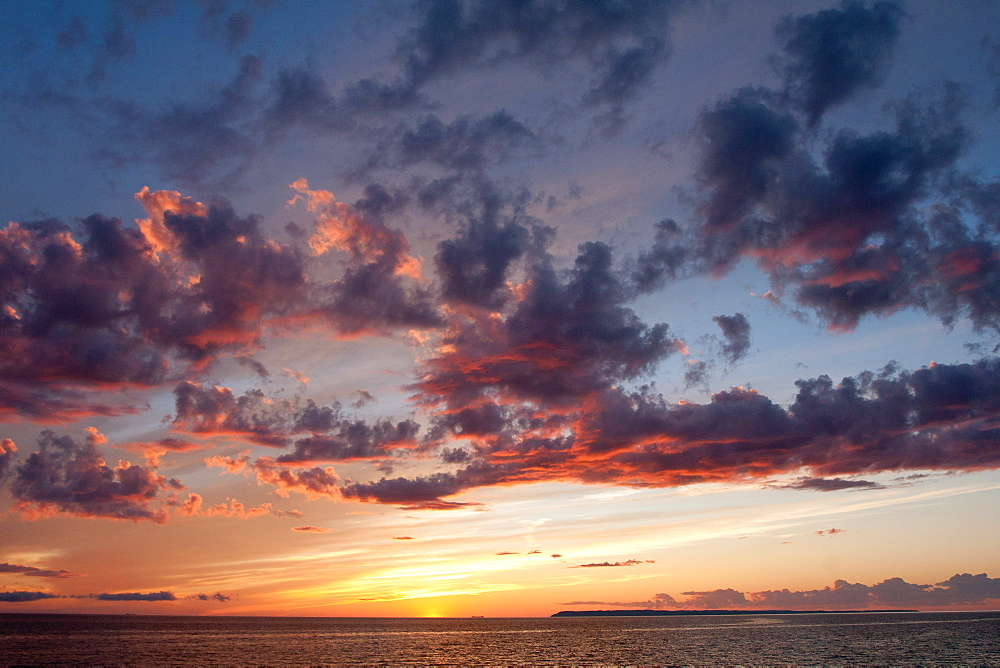 Sunset over Lake Michigan, Glen Arbor, Michigan, United States of America, North America