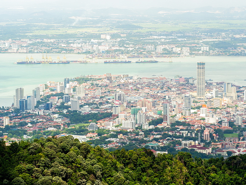 Downtown George Town, with mainland Malaysia in the backgroud, Penang Hill, Penang, Malaysia, Southeast Asia, Asia