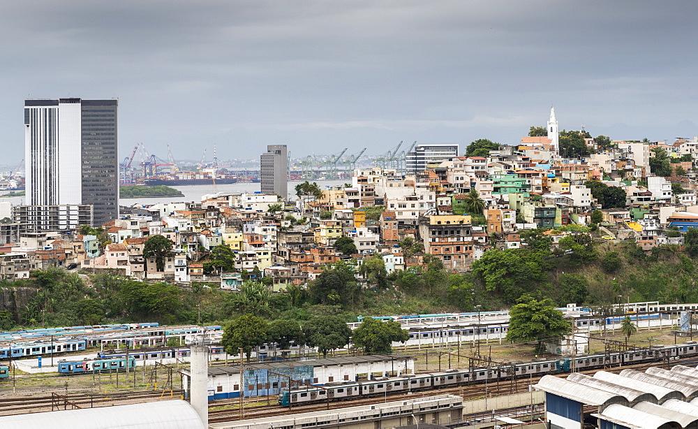 Morro da Providencia favela overlooking Guanabara Bay in Rio de Janeiro, Brazil, South America - 1243-214
