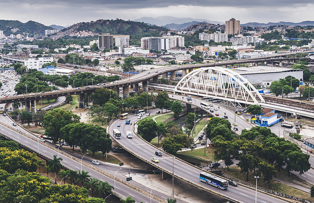 Busy highway junctions in Rio de Janeiro, Brazil, South America