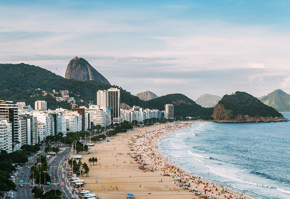Sugarloaf Mountain with Copacabana Beach in Rio de Janeiro, UNESCO World Heritage Site, Brazil, South America