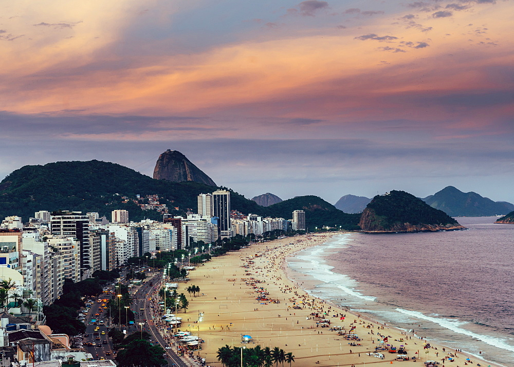 Sugarloaf Mountain with Copacabana Beach in Rio de Janeiro, UNESCO World Heritage Site, Brazil, South America - 1243-358