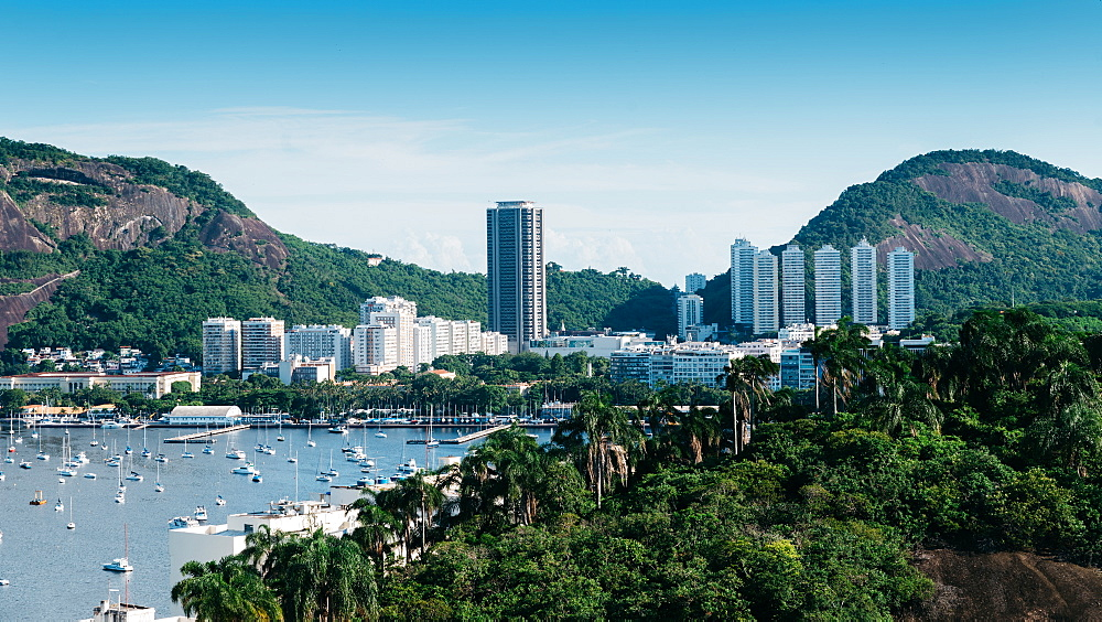 Botafogo Bay in Rio de Janeiro, Brazil surrounded by tropical vegetation - 1243-362