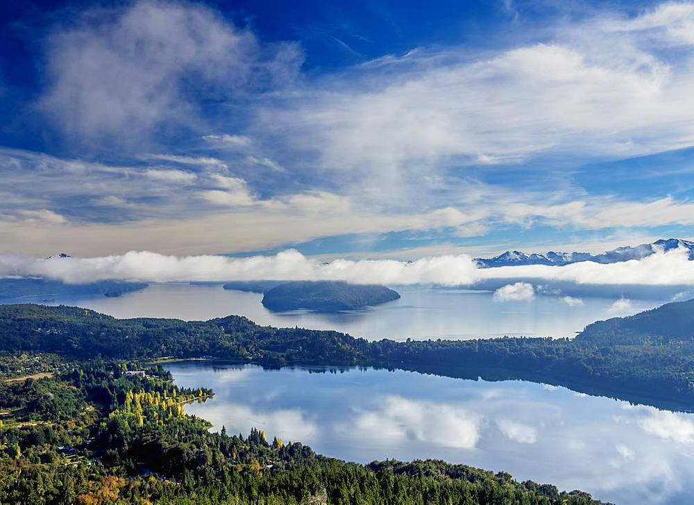 Nahuel Huapi Lake seen from Cerro Campanario, Nahuel Huapi National Park, Rio Negro Province, Argentina, South America