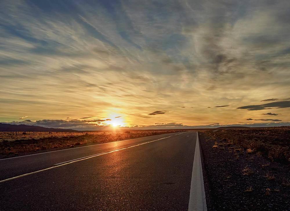 Ruta 40 near Perito Moreno Town, sunset, Santa Cruz Province, Patagonia, Argentina - 1245-1127