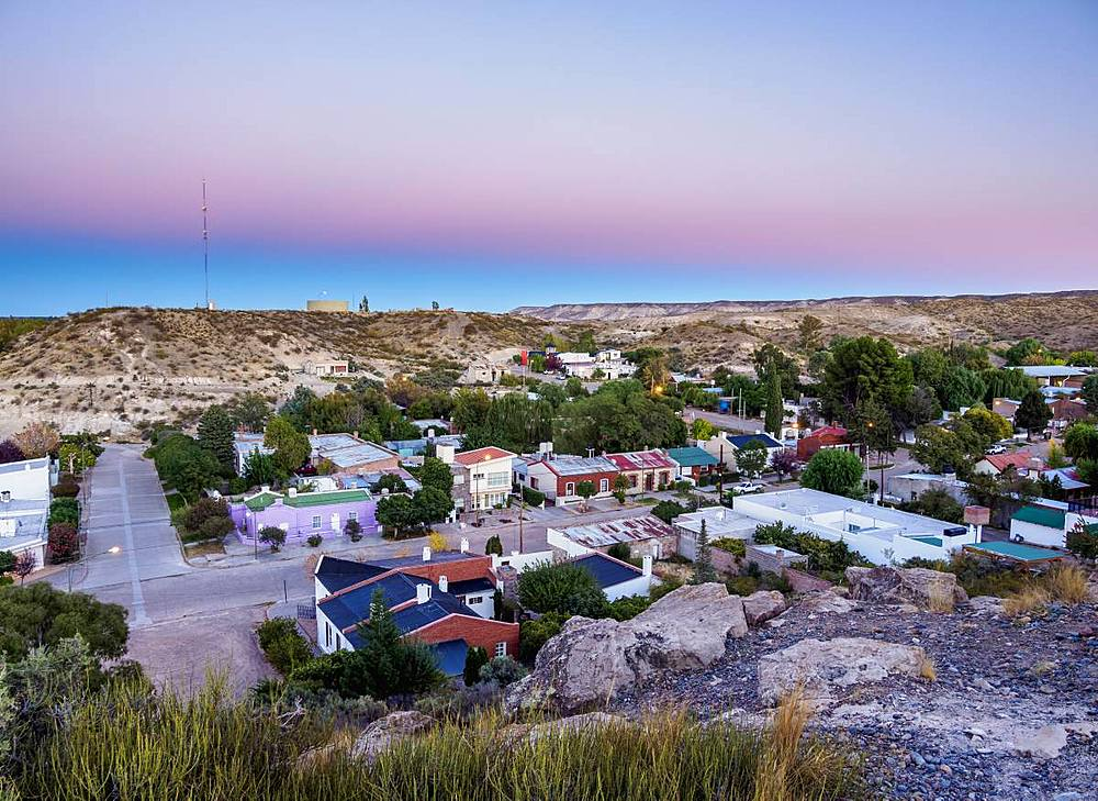 Gaiman at dawn, elevated view, The Welsh Settlement, Chubut Province, Patagonia, Argentina, South America - 1245-1132