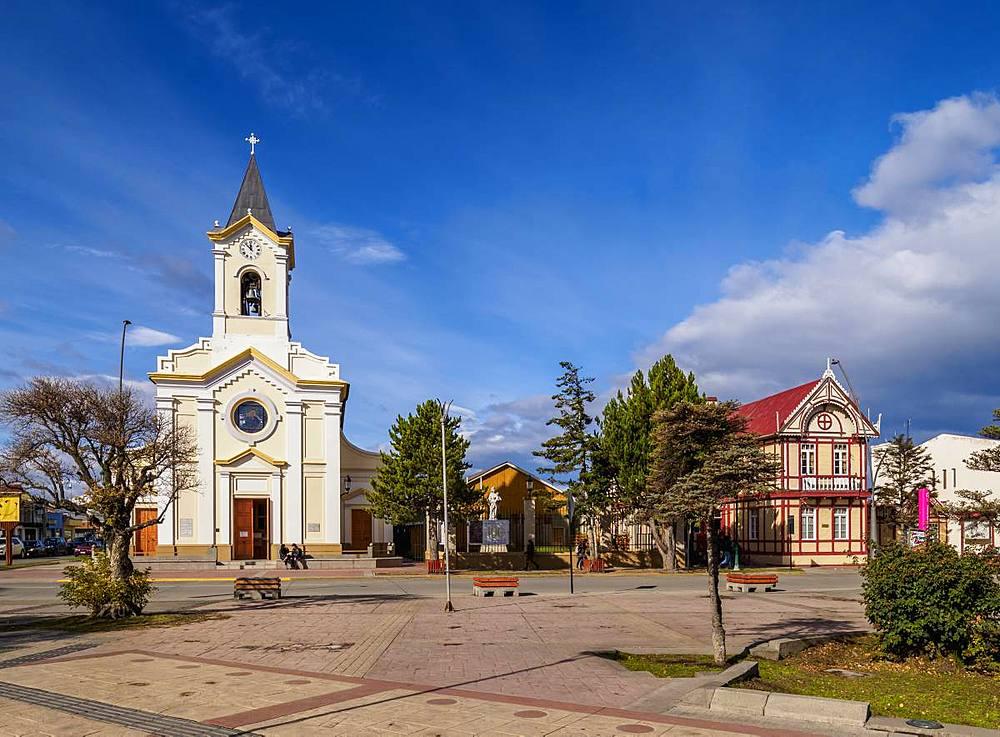 Maria Auxiliadora Church, Arturo Prat Main Square, Puerto Natales, Ultima Esperanza Province, Patagonia, Chile, South America