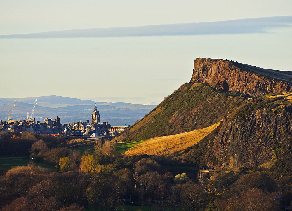 View towards Holyrood Park and city centre taken from the Craigmillar Castle, Edinburgh, Lothian, Scotland, United Kingdom, Europe