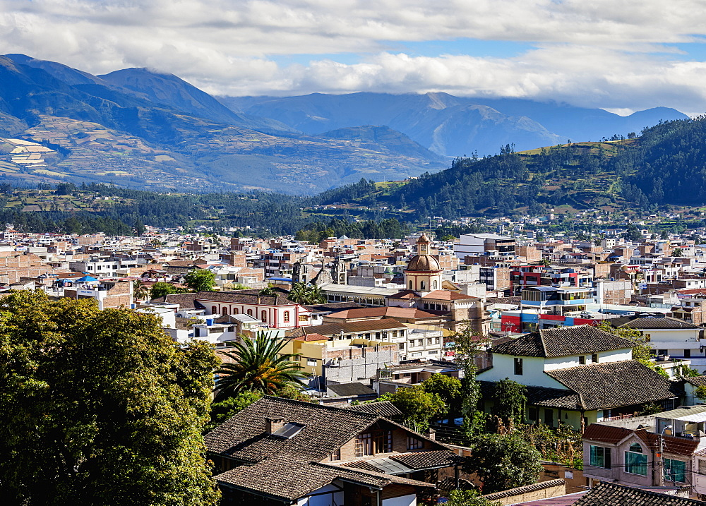 City Center, elevated view, Otavalo, Imbabura Province, Ecuador, South America