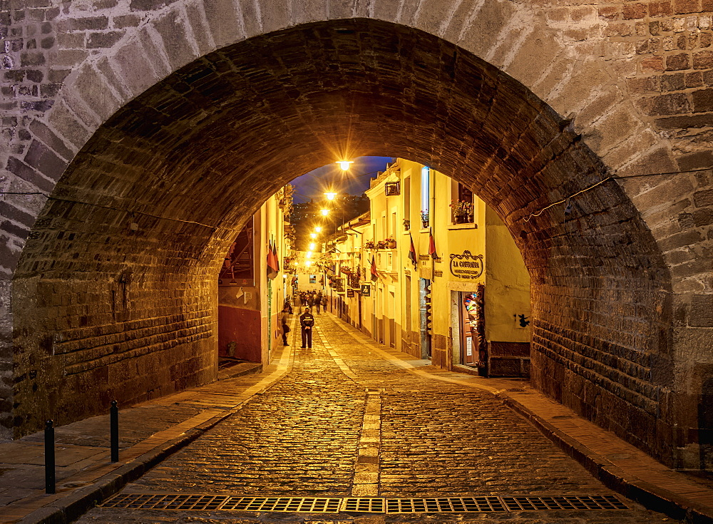 La Ronda Street at twilight, Old Town, Quito, Pichincha Province, Ecuador, South America