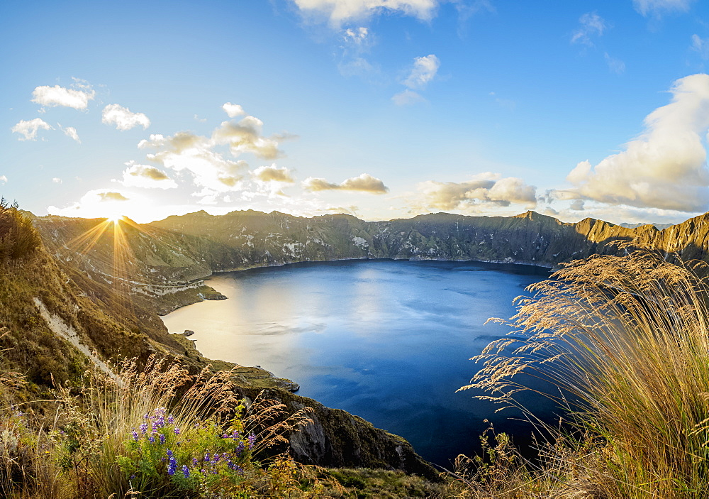 Lake Quilotoa at sunset, Cotopaxi Province, Ecuador, South America