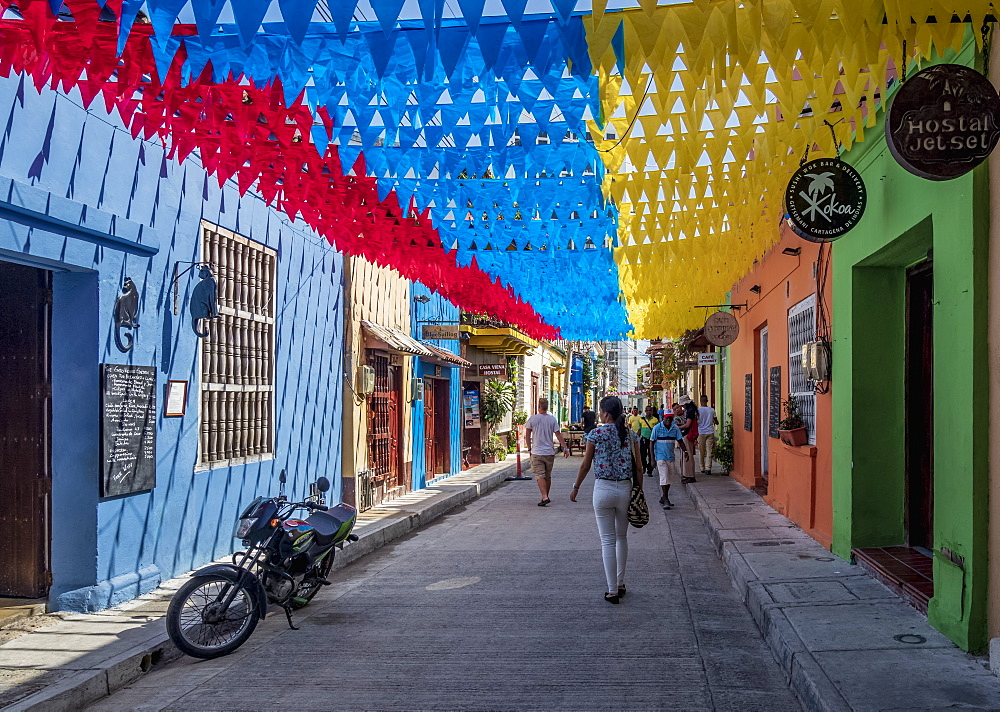 Street of Getsemani, Cartagena, Bolivar Department, Colombia, South America