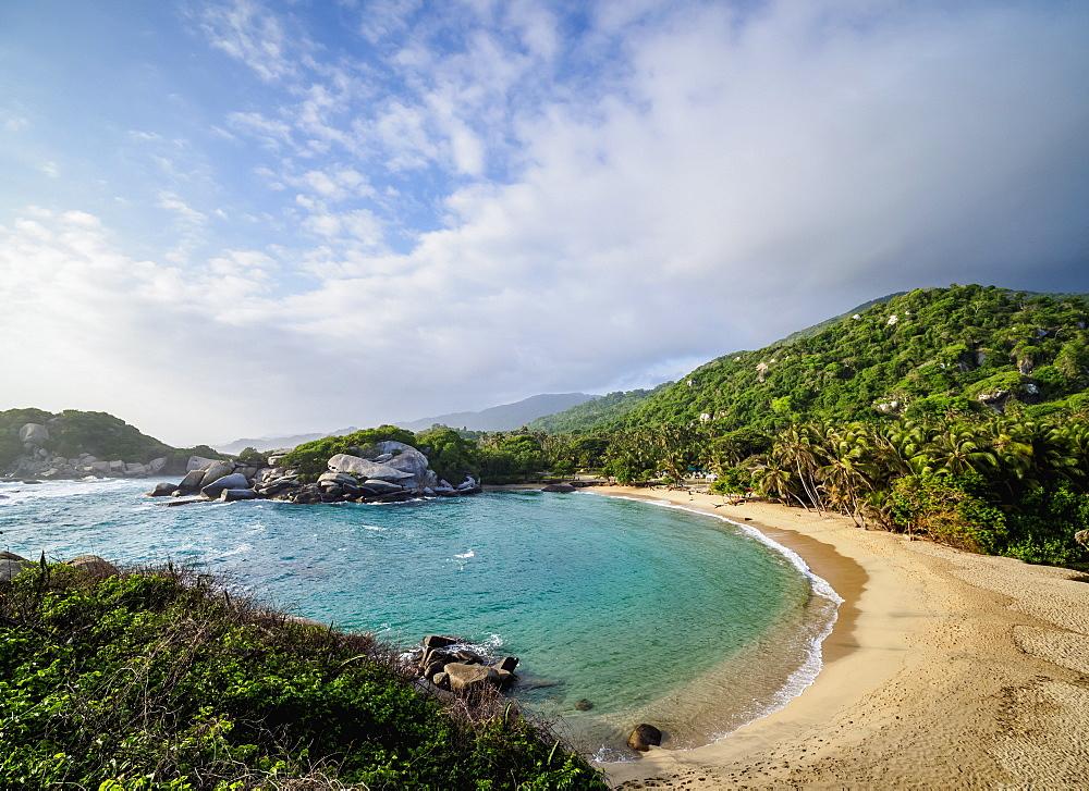 El Cabo San Juan del Guia beach, elevated view, Tayrona National Natural Park, Magdalena Department, Caribbean, Colombia - 1245-1386