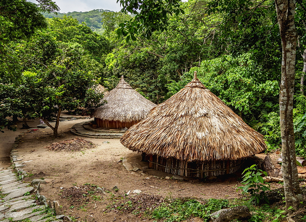 Kogi Huts, Pueblito Chairama, Tayrona National Natural Park, Magdalena Department, Caribbean, Colombia, South America