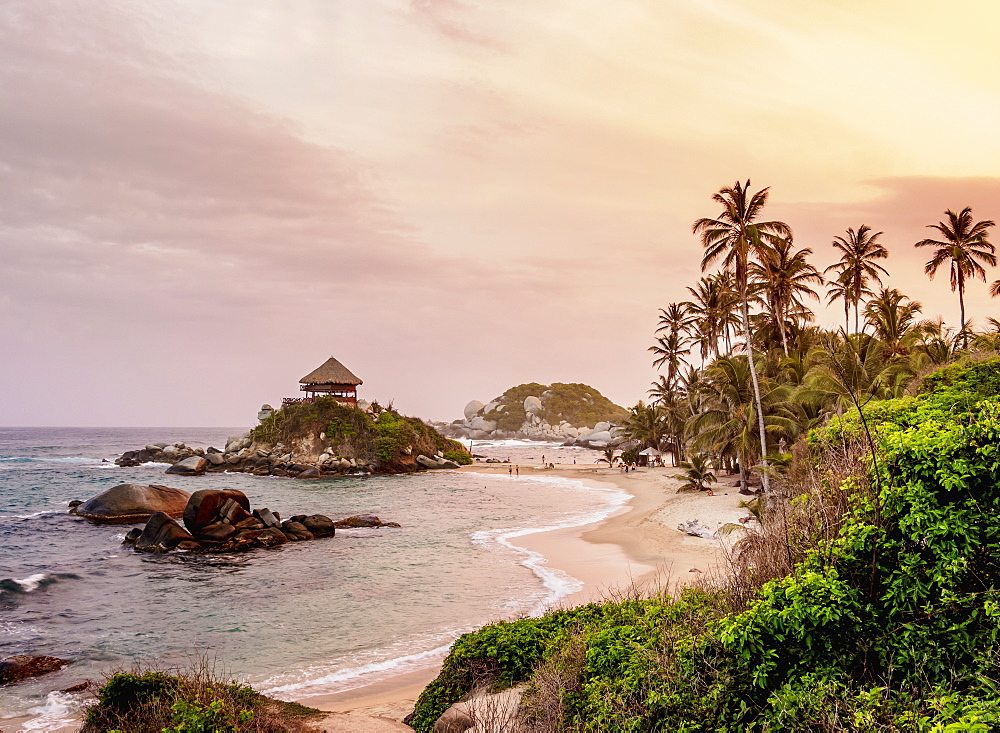 El Cabo San Juan del Guia beach at sunset, Tayrona National Natural Park, Magdalena Department, Caribbean, Colombia, South America