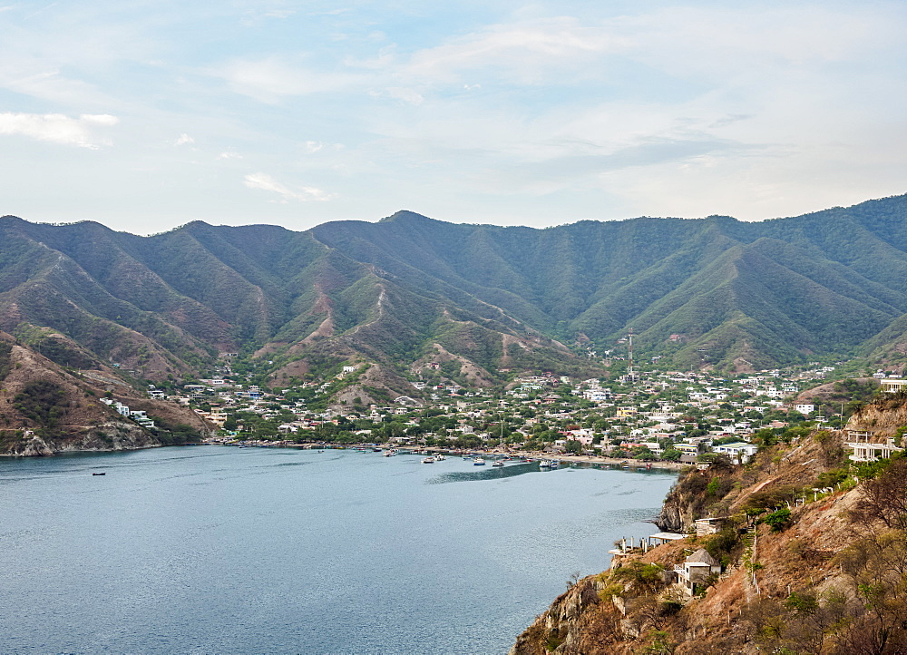 Taganga, elevated view, Magdalena Department, Caribbean, Colombia, South America