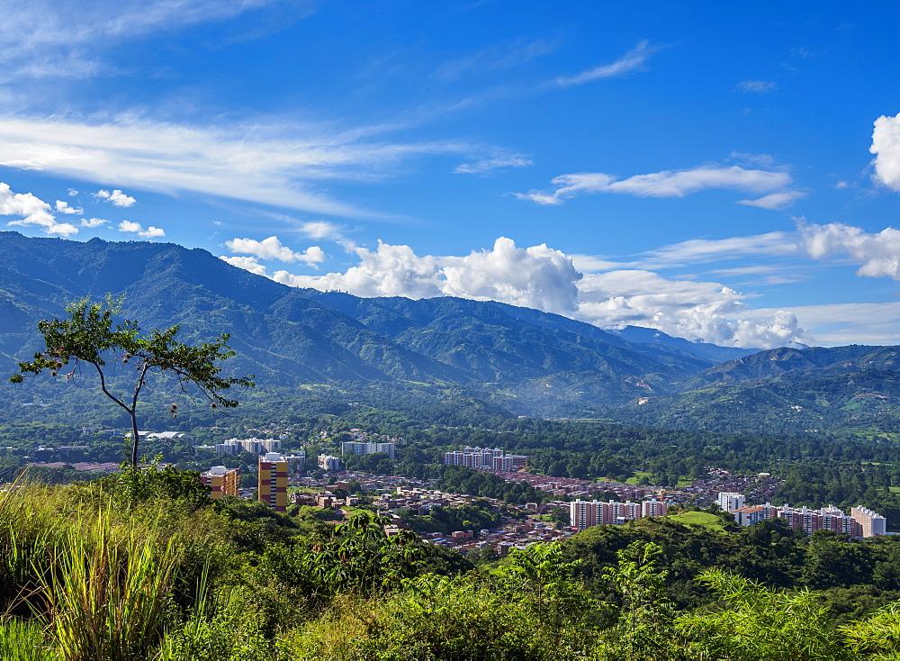 Landscape seen from La Cantera Hill, Piedecuesta, Santander Department, Colombia, South America