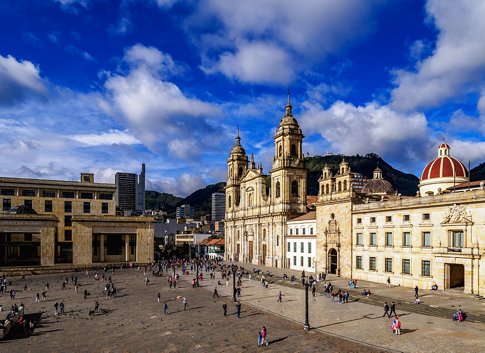 Cathedral of Colombia and Tabernacle Chapel, elevated view, Bolivar Square, Bogota, Capital District, Colombia