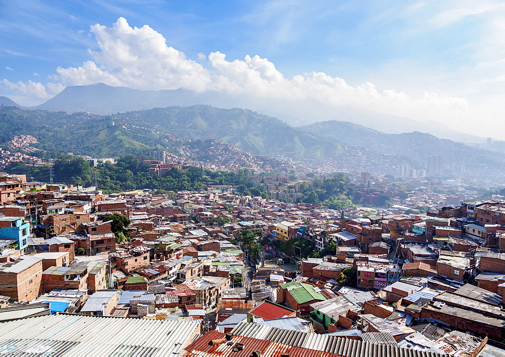 Comuna 13, elevated view, Medellin, Antioquia Department, Colombia