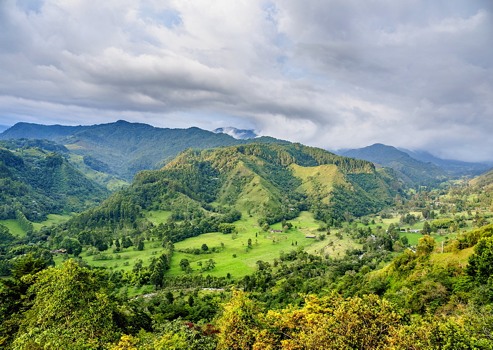 Landscape of Quindio River Valley at sunset, Salento, Quindio Department, Colombia