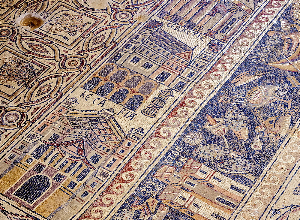 Mosaic floor in Umm ar-Rasas, UNESCO World Heritage Site, Amman Governorate, Jordan, Middle East